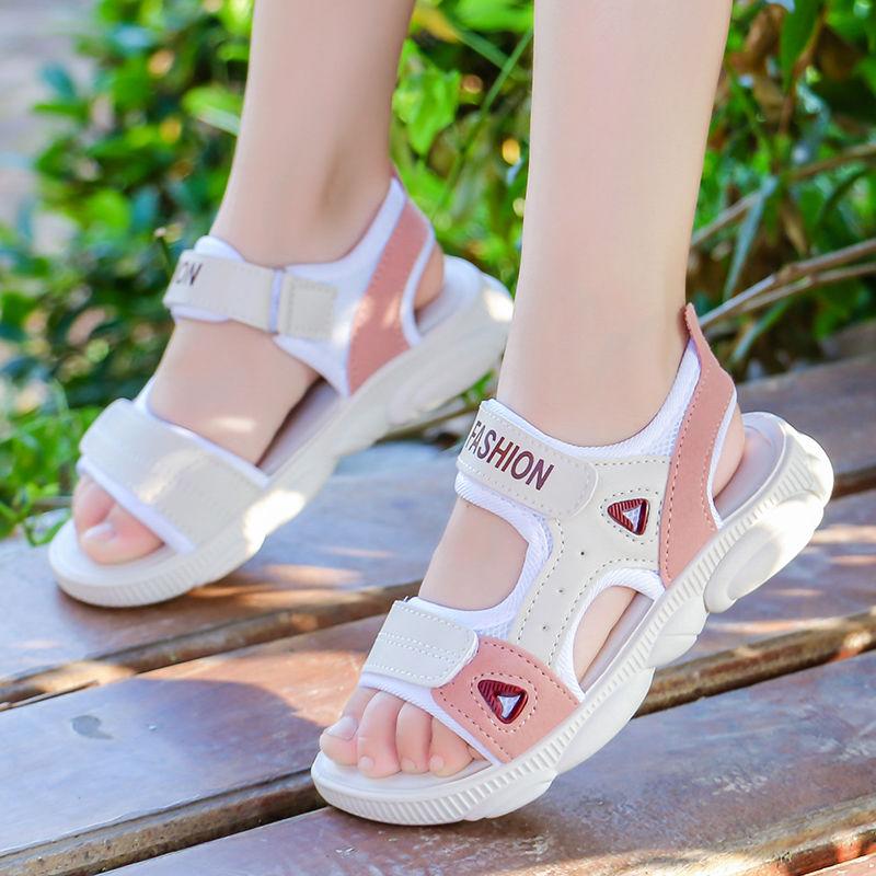 1女童兒童涼鞋女2020春夏新款女童小孩小童防滑軟底男童沙灘鞋