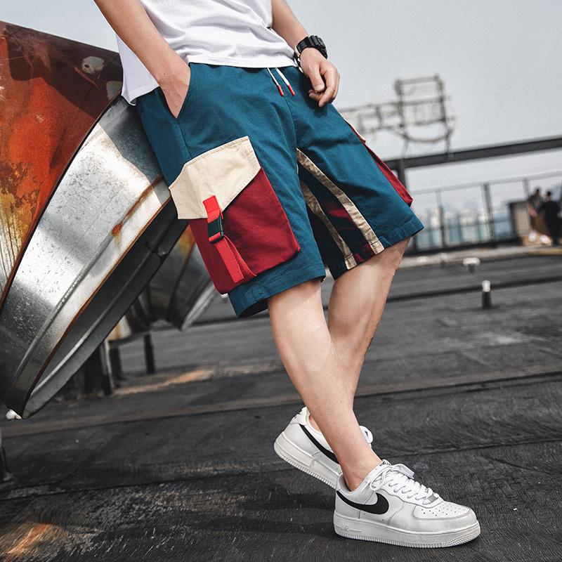 夏季潮男新款中裤薄款工装短裤 男士休闲修身裤子学生潮流五分裤