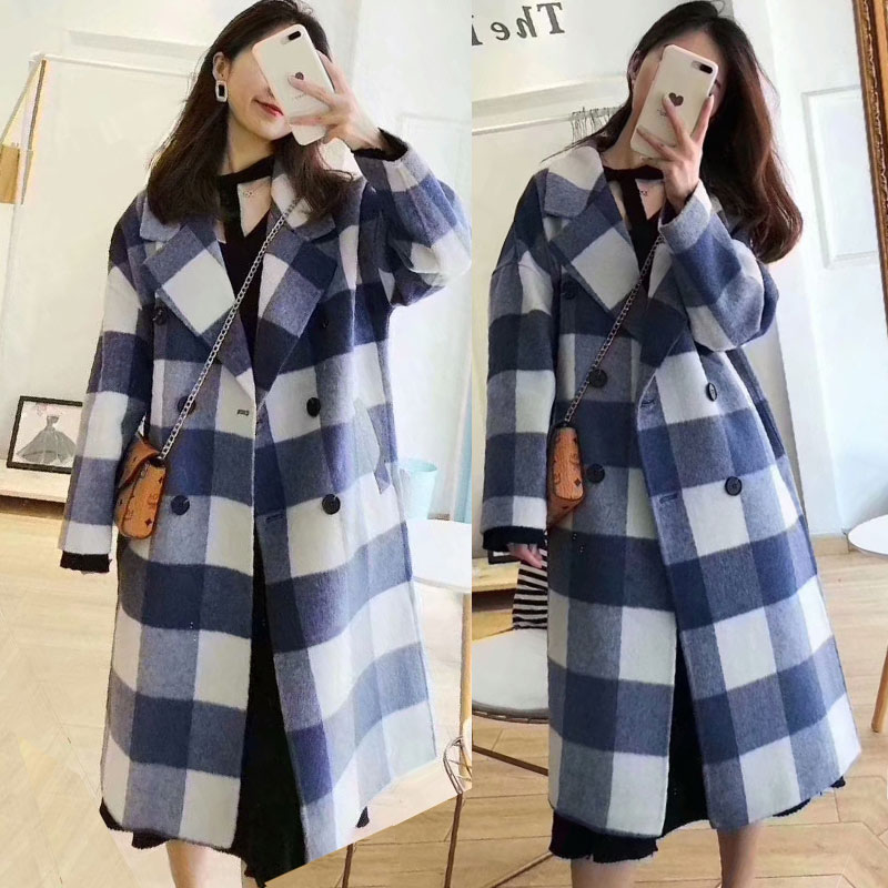 Woolen coat womens new autumn and winter double-sided overcoat medium and long version loose Plaid double-sided fashion