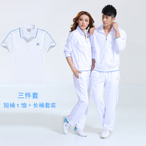 Sportswear set male white female running summer loose casual father short