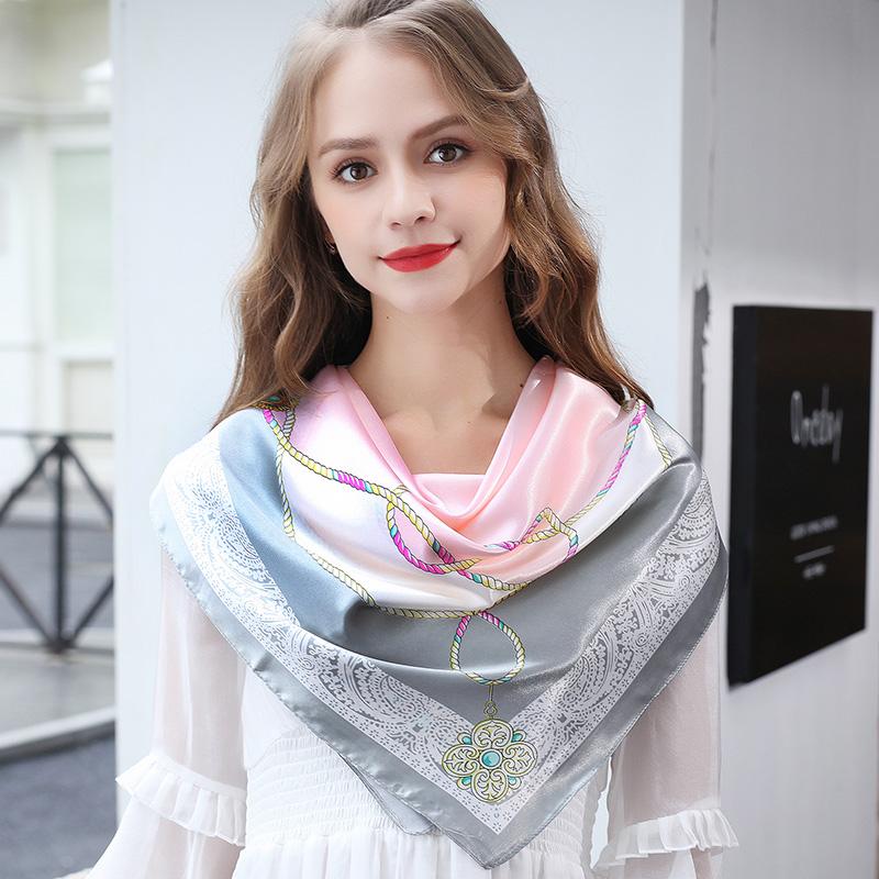 小丝巾女2020年秋冬季新款正方形围巾 90x90cm的大方巾三角巾纱巾