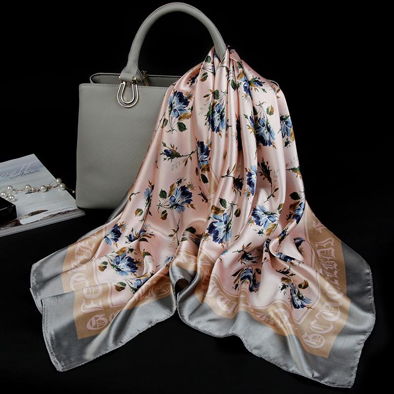 夏季防晒小丝巾女百搭大方巾四方薄款90cm正方形围巾夏天披风纱巾
