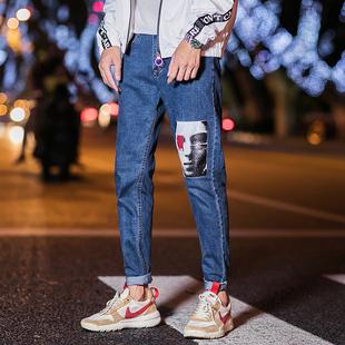 新款百搭牛仔裤修身潮牌小脚裤子