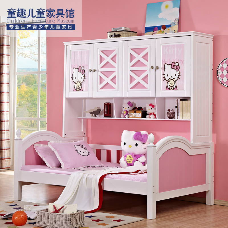All-wood children\'s wardrobe bed combination bookcase bed-all-in-one ...