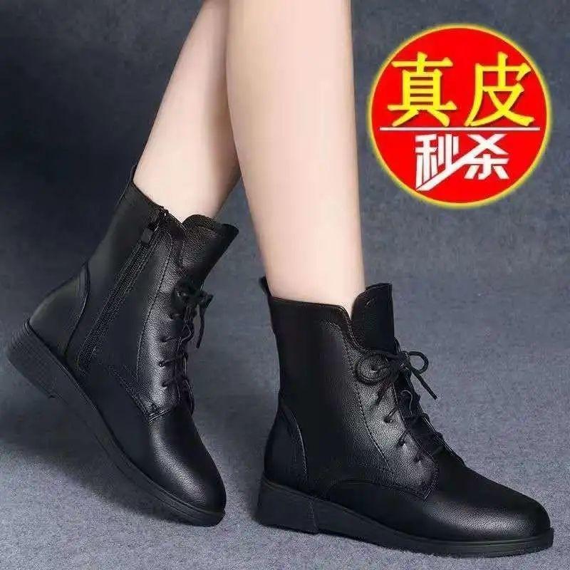 真软皮大东短靴女平底2021秋冬新款马丁靴英伦风春秋单靴百搭女靴