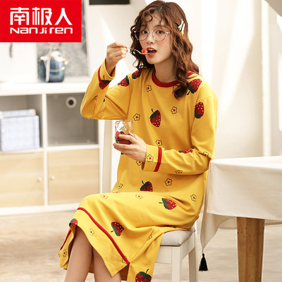 Antarctic nightdress female spring and autumn cotton long-sleeved Korean version of the large size pajamas autumn and winter long skirt cotton home service
