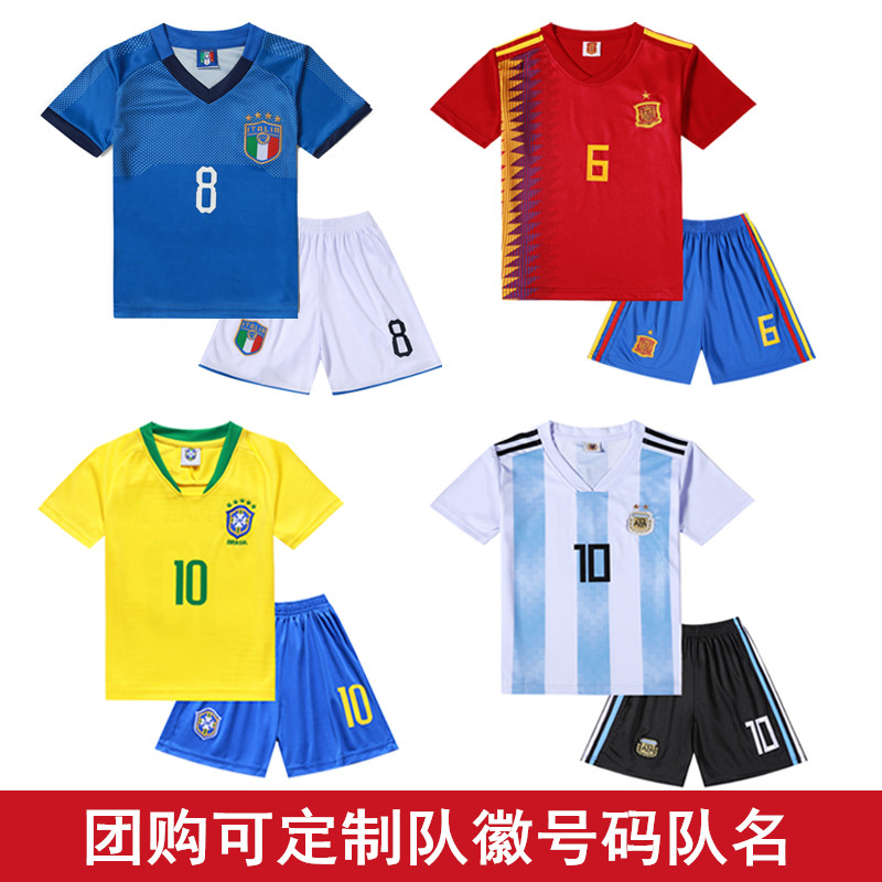 bc692168a6a Argentina Brazil children s soccer clothing suit men and women ...