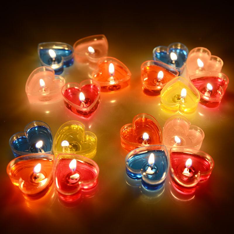 蜡烛浪漫创意生日无烟果冻心形蜡烛香薰蜡烛表白求婚七夕情人节