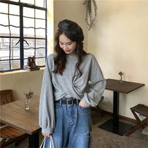 I want to buy net red short women autumn long-sleeved short-sleeved loose belly button sweatshirt cross hip-hop top with high