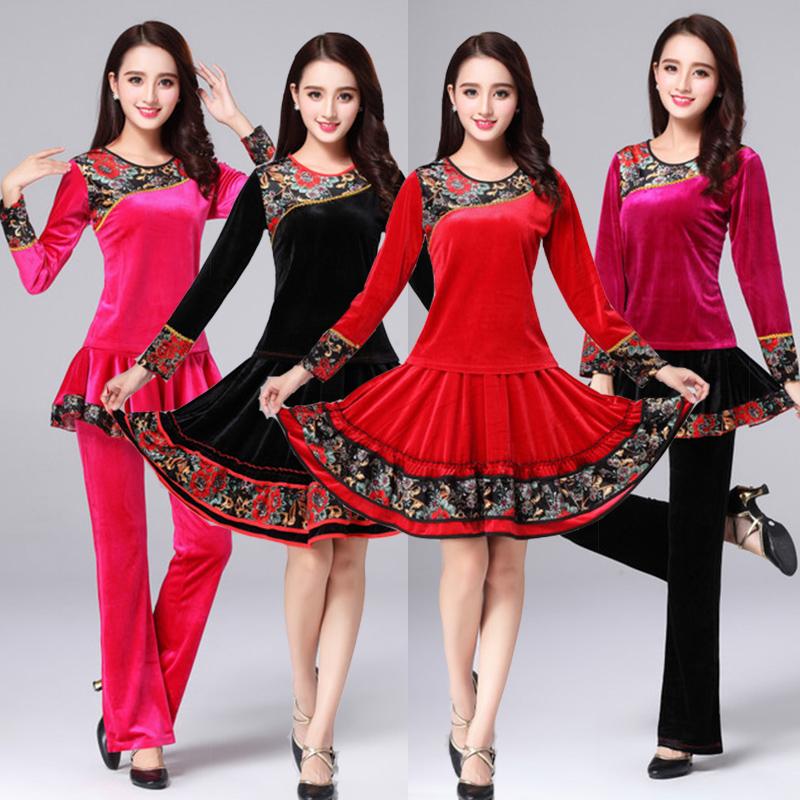 秧歌舞服装女金丝绒套装长袖中老年衣服跳舞舞蹈广场大码秋冬服