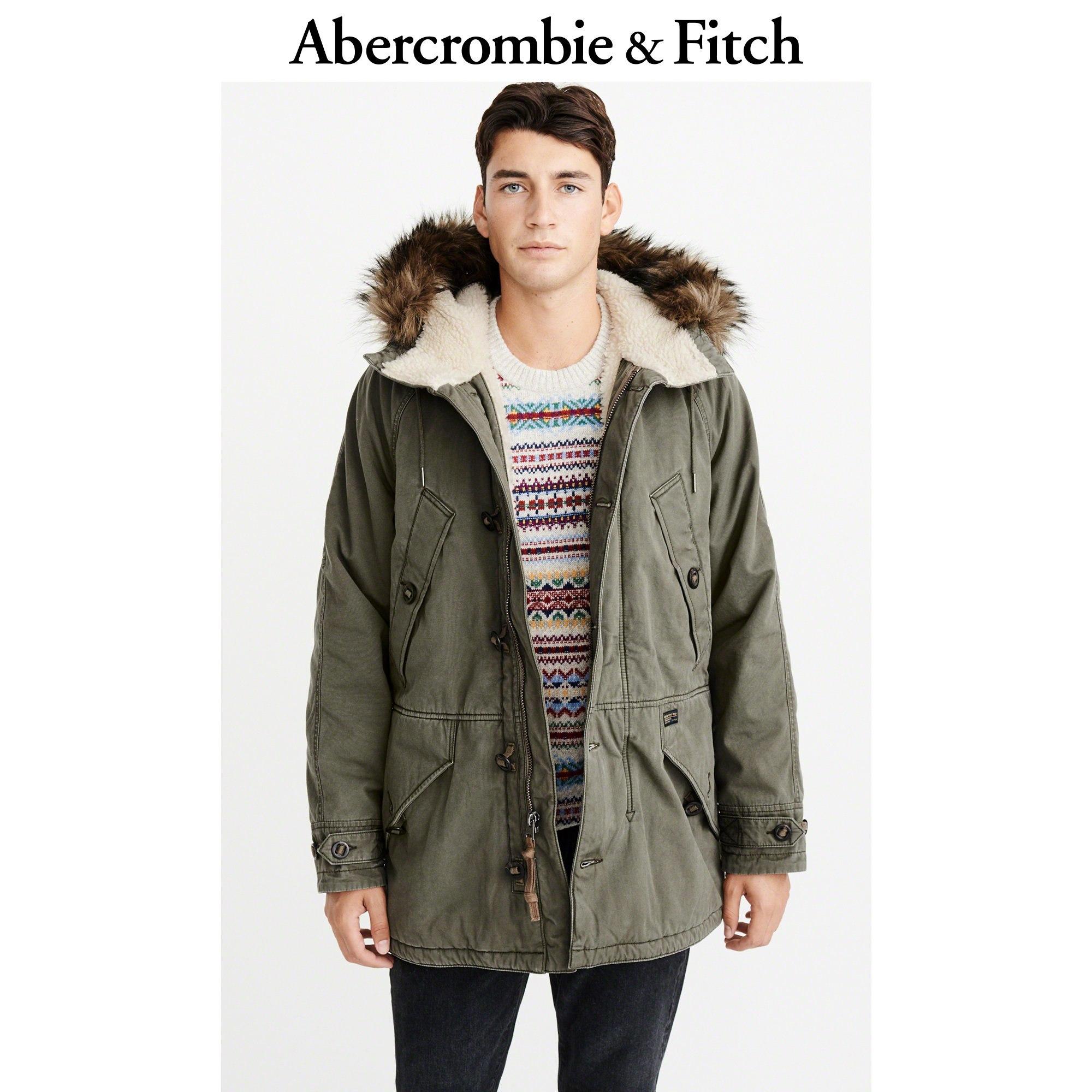 Abercrombie&Fitch男装 仿羊羔绒内衬派克大衣 228491-1 AF