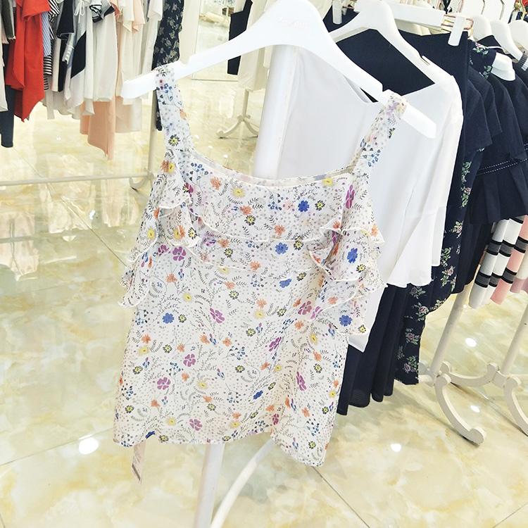 正品撤柜吊带专柜商场特卖新款上衣折扣个性韩版碎花女夏装T恤
