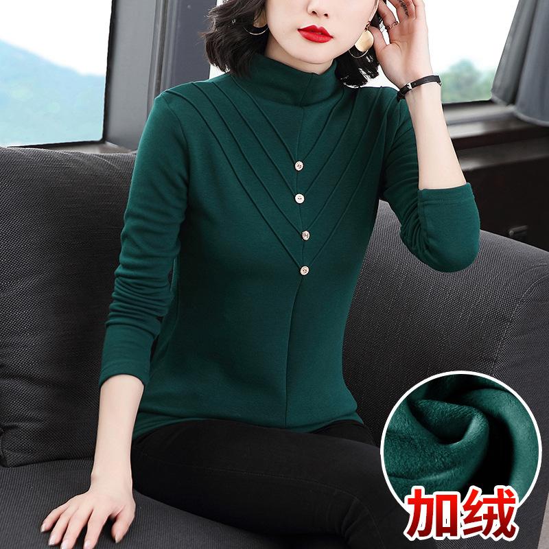 2021新款双面德绒打底衫女中年妈妈装内搭半高领羊绒欧货长袖秋冬