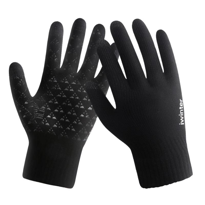 触屏手套男士冬季防滑开车女学生针织毛线情侣加绒保暖户外骑行车