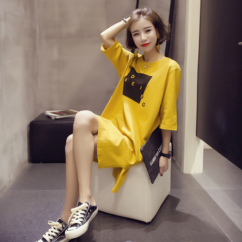 2019韩版中长款下摆开叉显瘦短袖T恤女小衫夏季半袖打底裙上衣服T