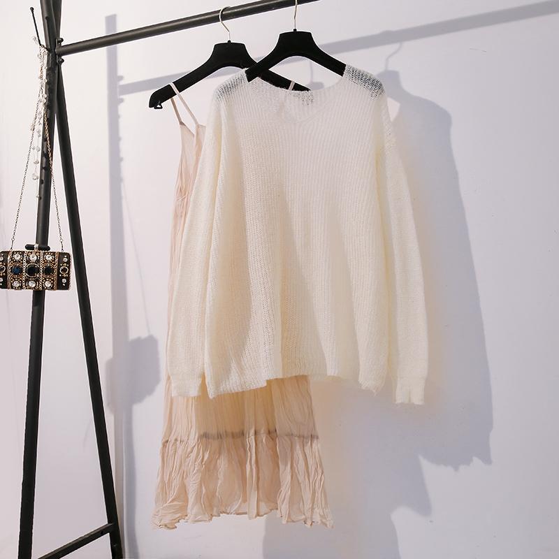 秋装2019年新款胖MM大码吊带雪纺森系长裙连衣裙宽松薄毛衣套装裙