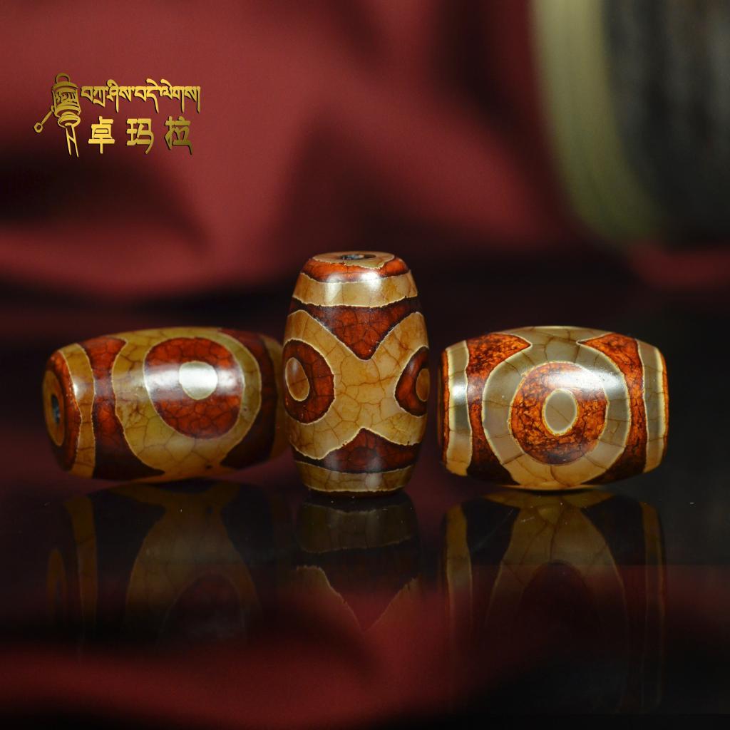 Ювелирные изделия и полуфабрикаты Тибет три голубоглазых дзи Агат натуральный камень Луны и звёзд Бодхи через DIY браслет жемчуг Подвески Браслеты Ожерелье