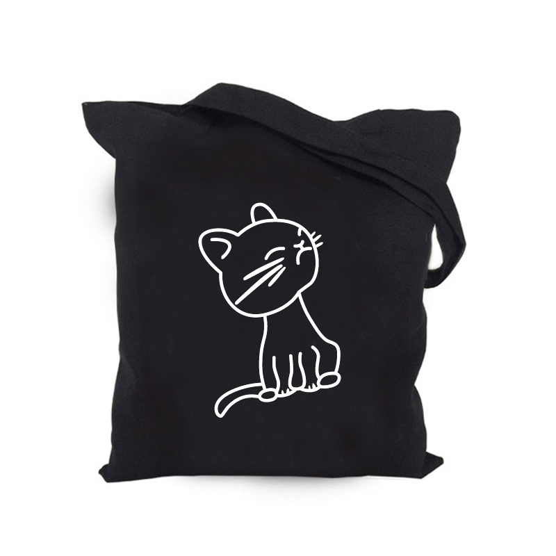 Black Happy Cat Without Zipper Without Pocket