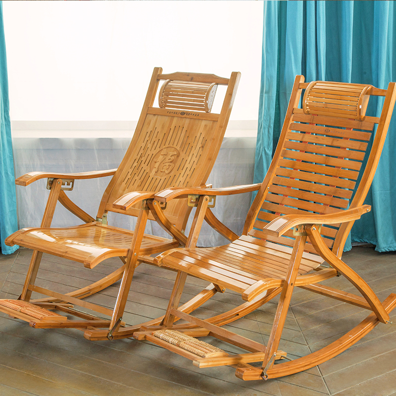 Bamboo recliner folding lunch break chair portable single chair adult simple chair lazy balcony rocking chair