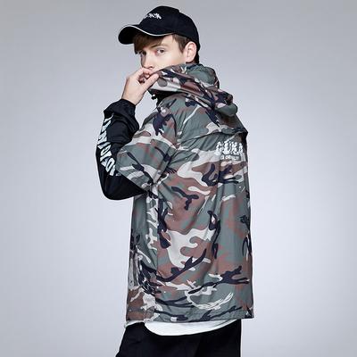 Guuka Tide thương hiệu ngụy trang áo gió áo khoác nam thanh niên hip hop vài thể thao da kem chống nắng quần áo nam phần mỏng Áo gió