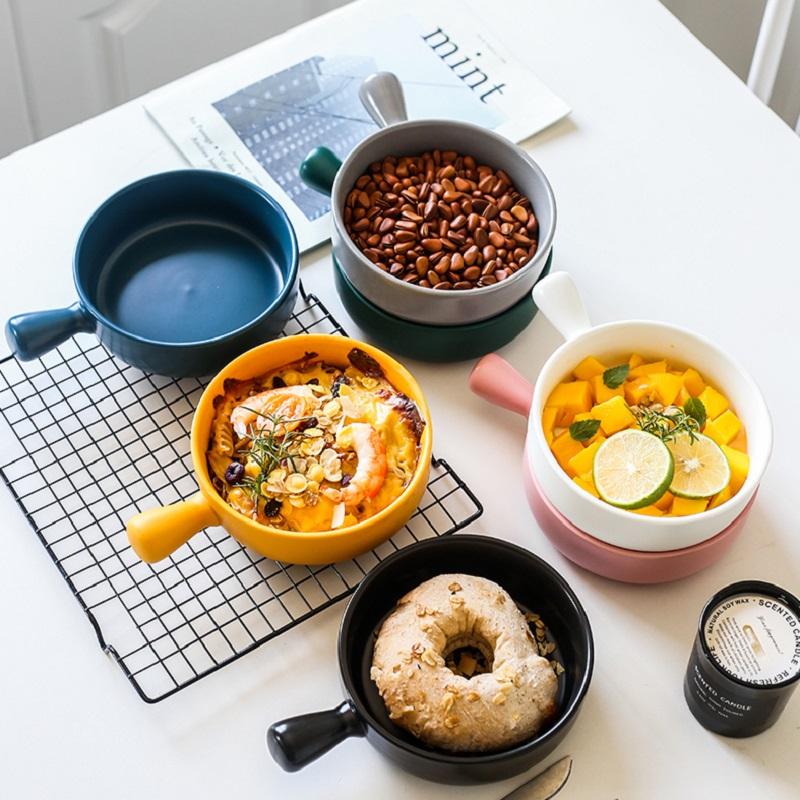 焗饭碗创意陶瓷单柄碗家用烘焙烤箱碗芝士焗饭碗网红碗烤碗焗饭盘