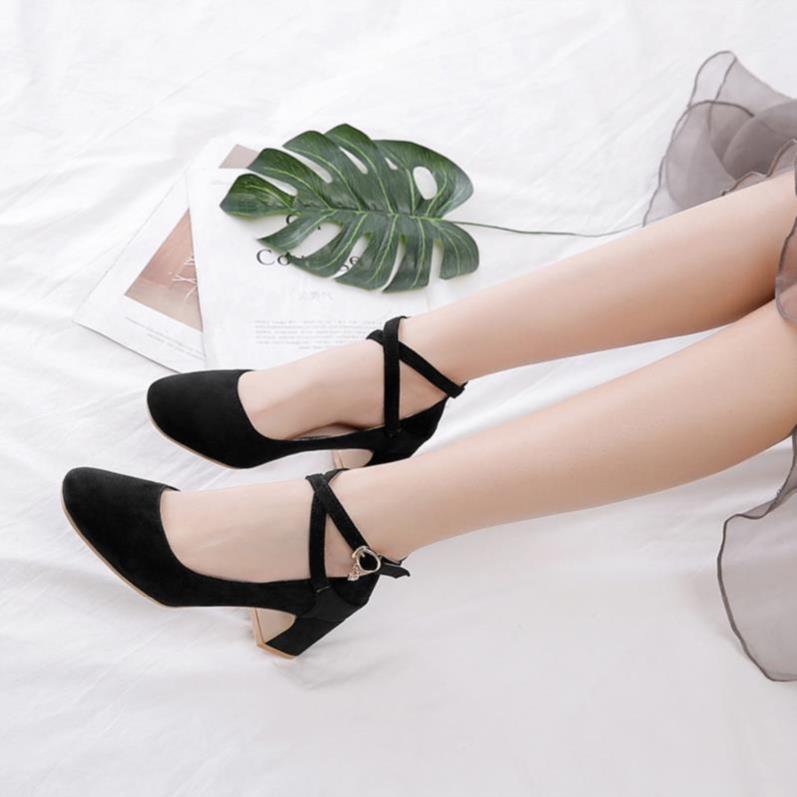 脚胖新款女士女高跟款中跟少女春季单鞋鞋牛津底舒服学生粗跟女鞋