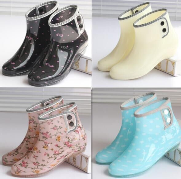 South Korea Summer short simple rain boots women adult fashion non-slip jelly shoes flat plastic low-top students wild water boots