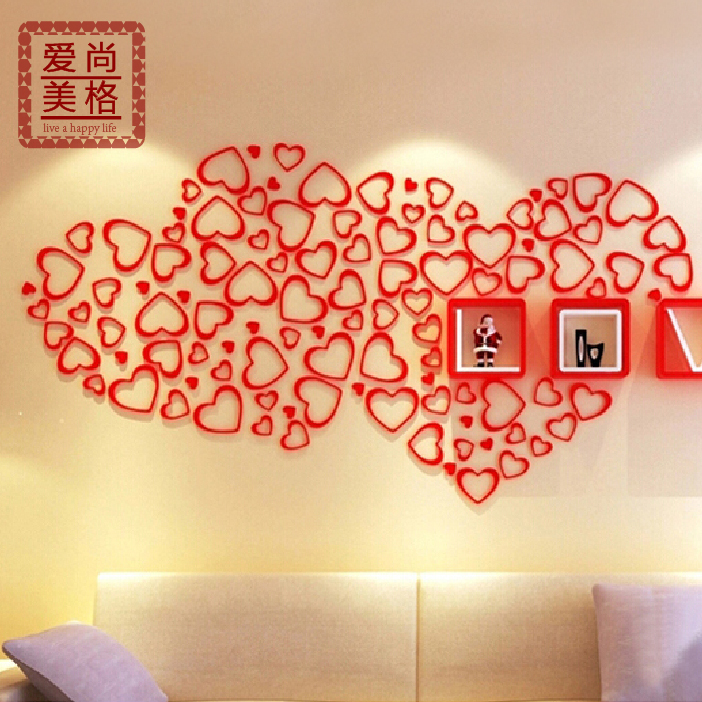 USD 5.46] Heart shaped Wall Stickers living room 3d three ...