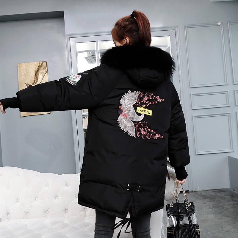 上海七普鹿外套冬女加厚棉袄女2018新款棉服女中长款面包服女