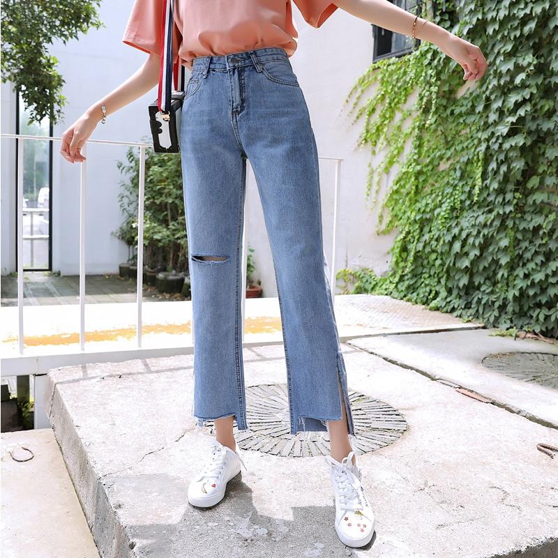 破洞高腰显瘦阔腿牛仔裤女宽松2019夏季新款网红学生九分直筒裤子