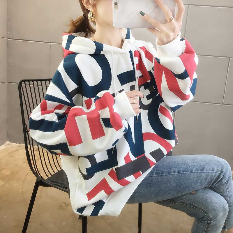 Áo len nữ cỡ lớn giảm 200 cân, áo len mùa thu và mùa đông cộng với nhung dày chất béo của nữ sinh viên Áo khoác lửng Hàn Quốc - Áo len