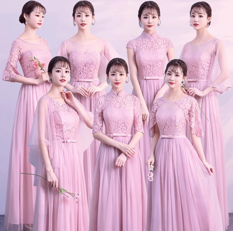 保暖个性冬日超仙姐妹裙气质敬酒礼服女修身粉色优雅秋季合唱团