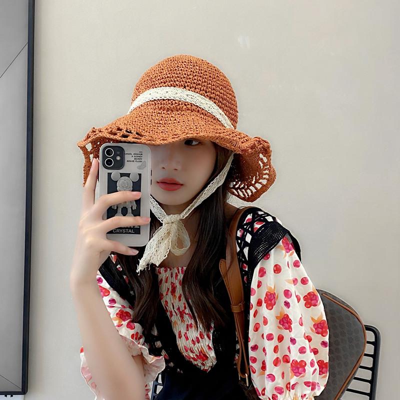 网红草帽女夏蕾丝系带沙滩帽小清新海边出游度假防晒遮阳帽子绑带