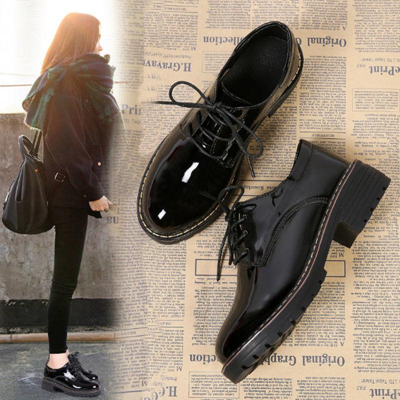 英伦风小皮鞋女2020新款秋季百搭韩版学生复古黑色女鞋粗跟单鞋潮