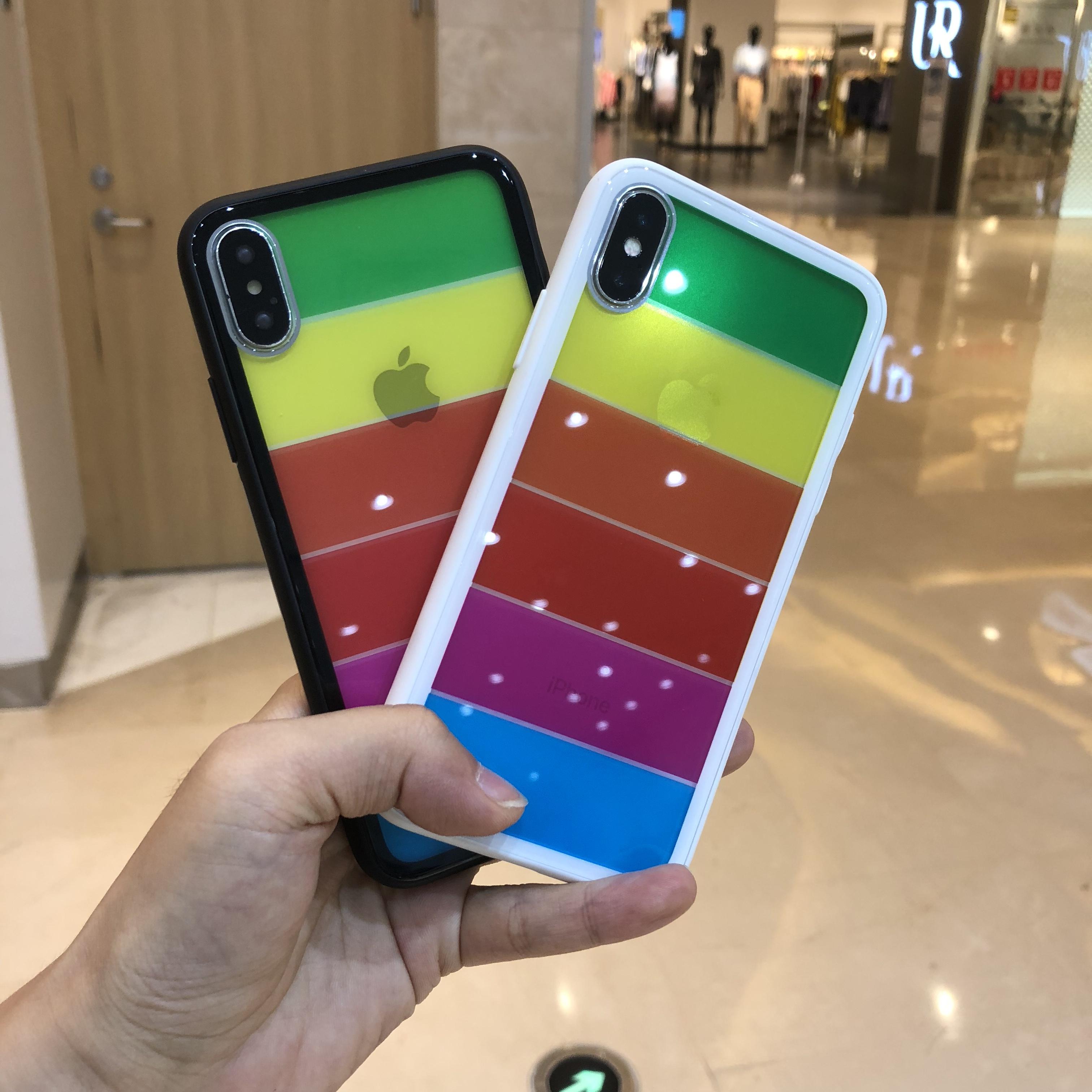 苹果x手机壳潮牌iPhone7钢化玻璃镜面8plus超薄7p全包透明软硅胶8x防摔套抖音男女新款7plus情侣八个性创意七