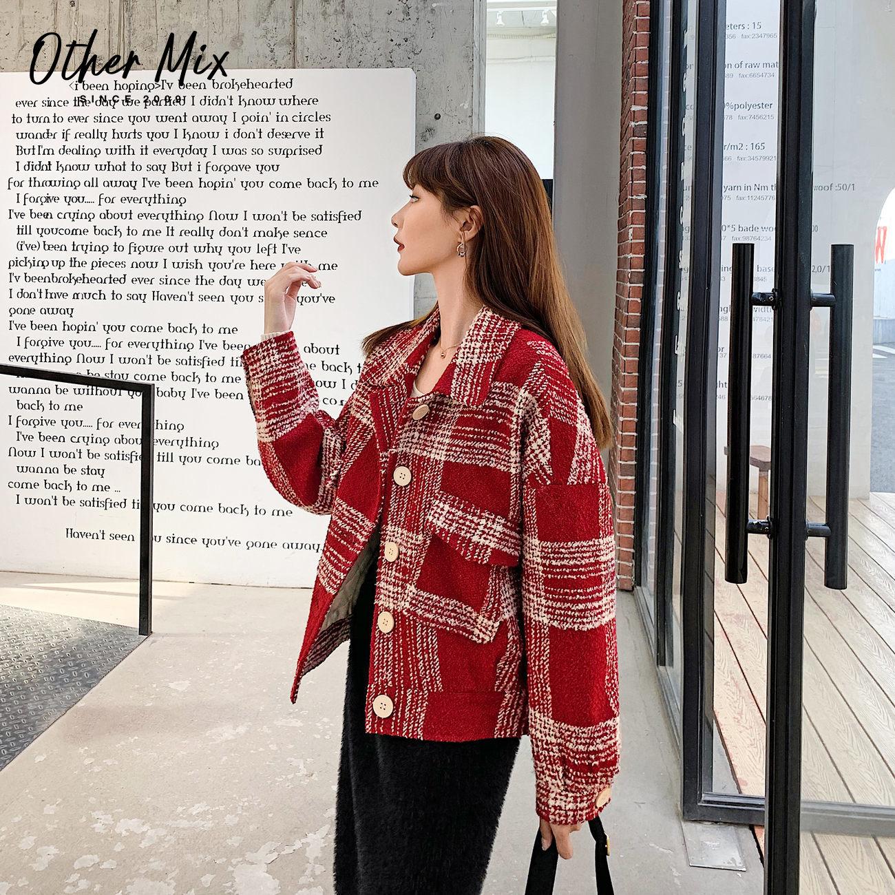 Bảy chiếc áo khoác len kẻ ca rô 2020 mới mùa đông dày kẻ sọc đỏ Áo khoác Hepburn nhỏ - Accentuated eo áo