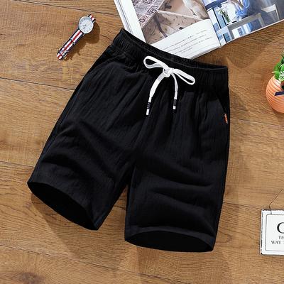 男士短裤子夏季棉麻5分五分裤