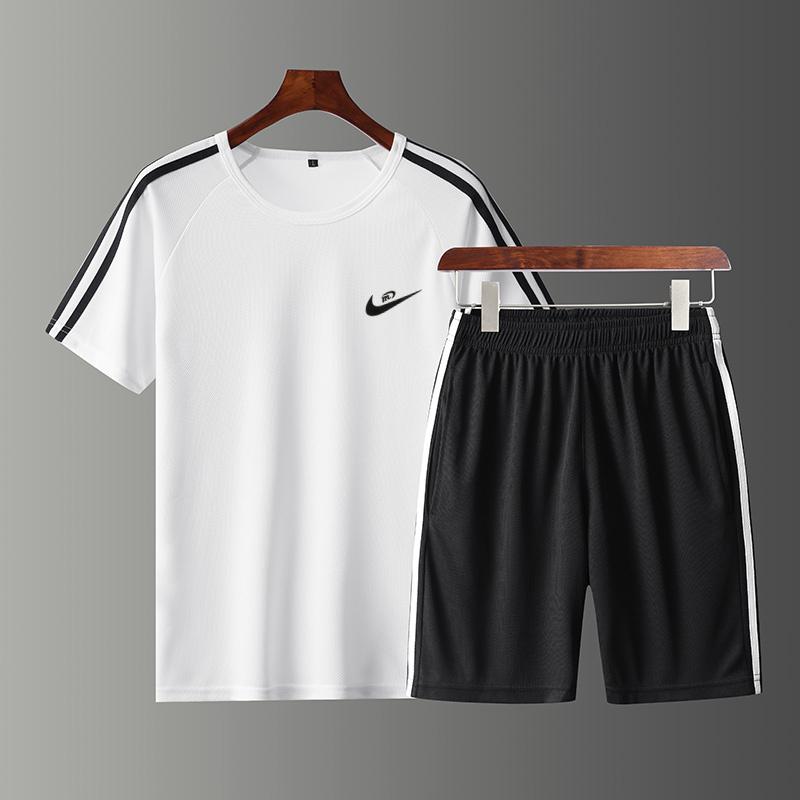 夏季新款男运动套装衣服T恤跑步健身两短袖休闲件套短裤加肥大码