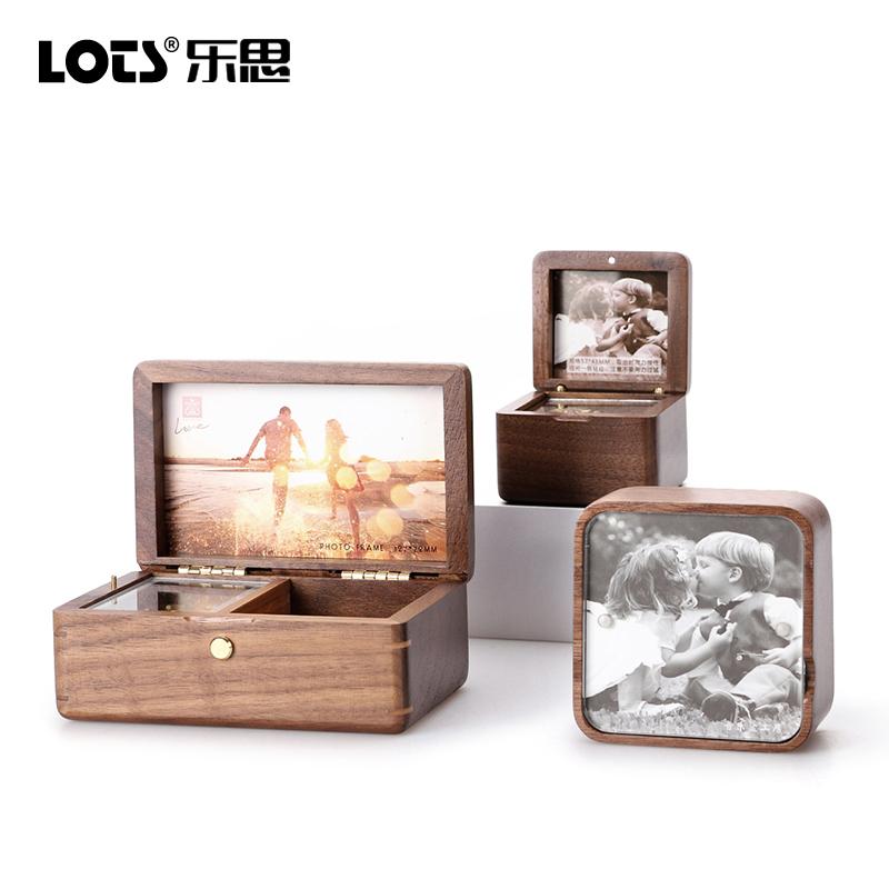 LOTS女生音乐盒相框复古照片天空之城八音盒礼物diy定制刻字木质
