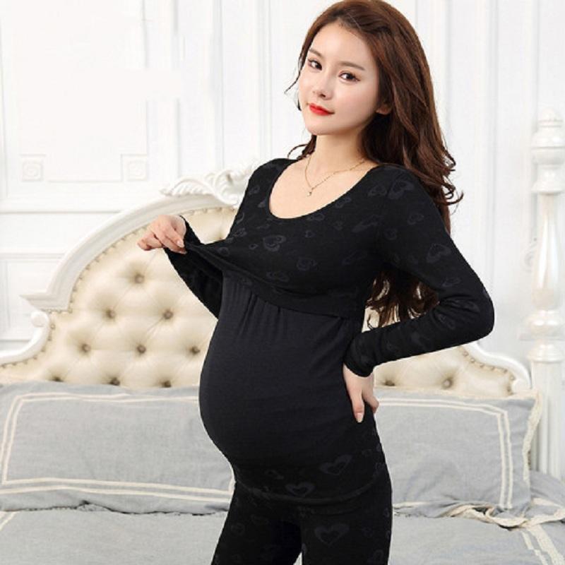 孕妇保暖内衣套装加绒加厚冬大码可哺乳月子服秋衣秋裤怀孕期产后