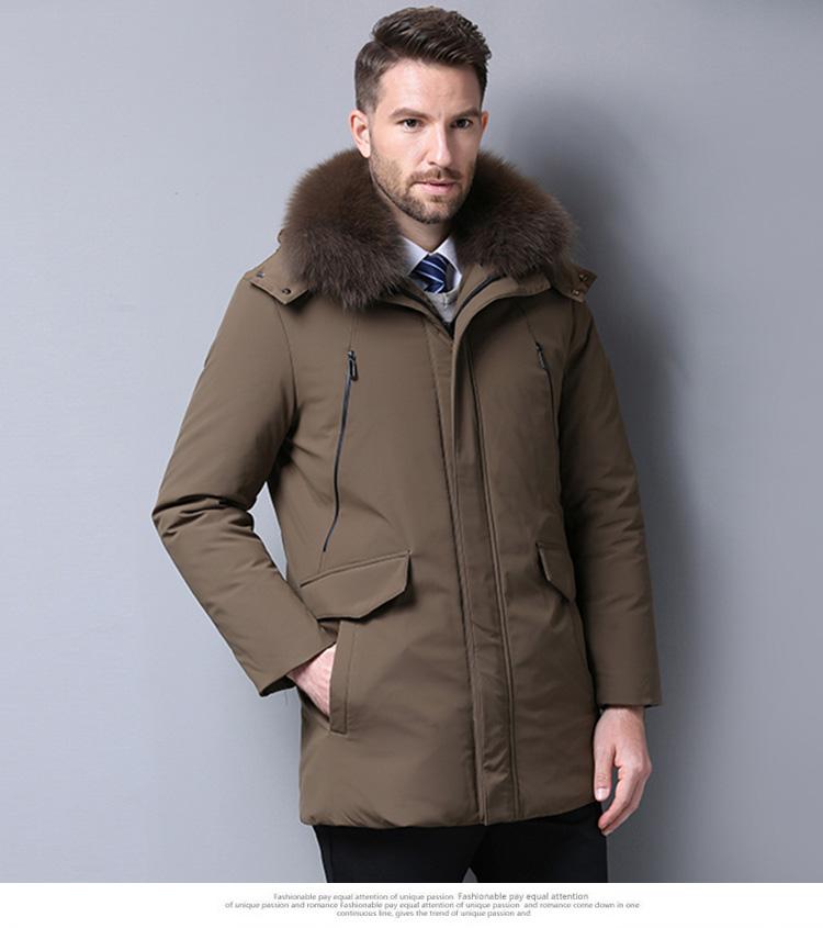 中老年羽绒服男士中长版加厚中年男装毛领大尺码爸爸装冬装父亲外套详细照片
