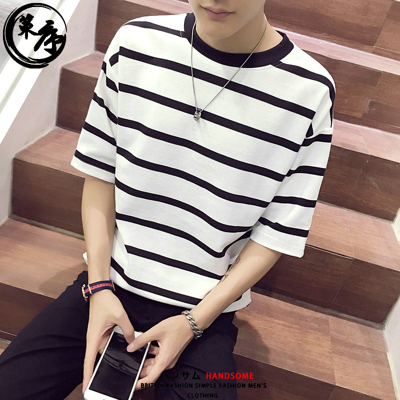 Usd 26 71 Summer Striped Five Point Sleeve T Shirt Men S Short