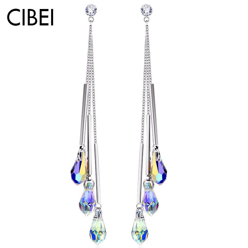 水晶耳环女2019新款潮个性气质长款高级感法式网红耳饰时尚银耳坠