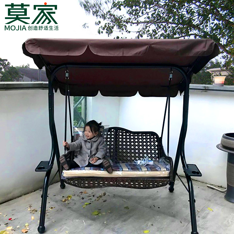 Mojia Outdoor Swing Chair Outdoor Wrought Iron Adult Rocking Chair Garden  Balcony Double Basket Rattan Chair Swing Chair