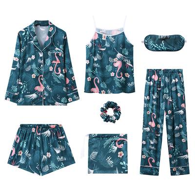 睡衣女春秋冬纯棉长袖七件套夏韩版甜美可爱薄款吊带可外穿家居服