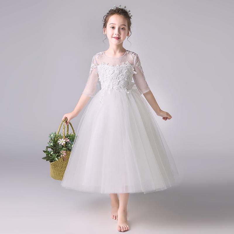 Детские платье белый для маленькой принцессы юбка на девочку Пушистый хозяин, костюм пианино, девушка цветка, вечернее платье на день рождения, осень