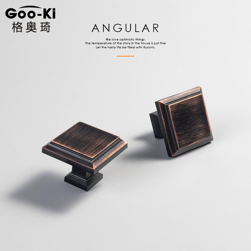 Goo-Ki/格奥琦 黑色方形美式单孔拉手抽屉柜门把手橱柜柜子小拉手