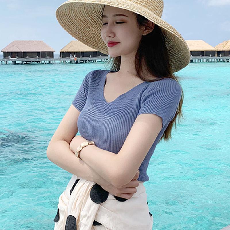 T恤女上衣V领冰丝针织学生恤韩版潮夏装修身显瘦半袖体短袖服
