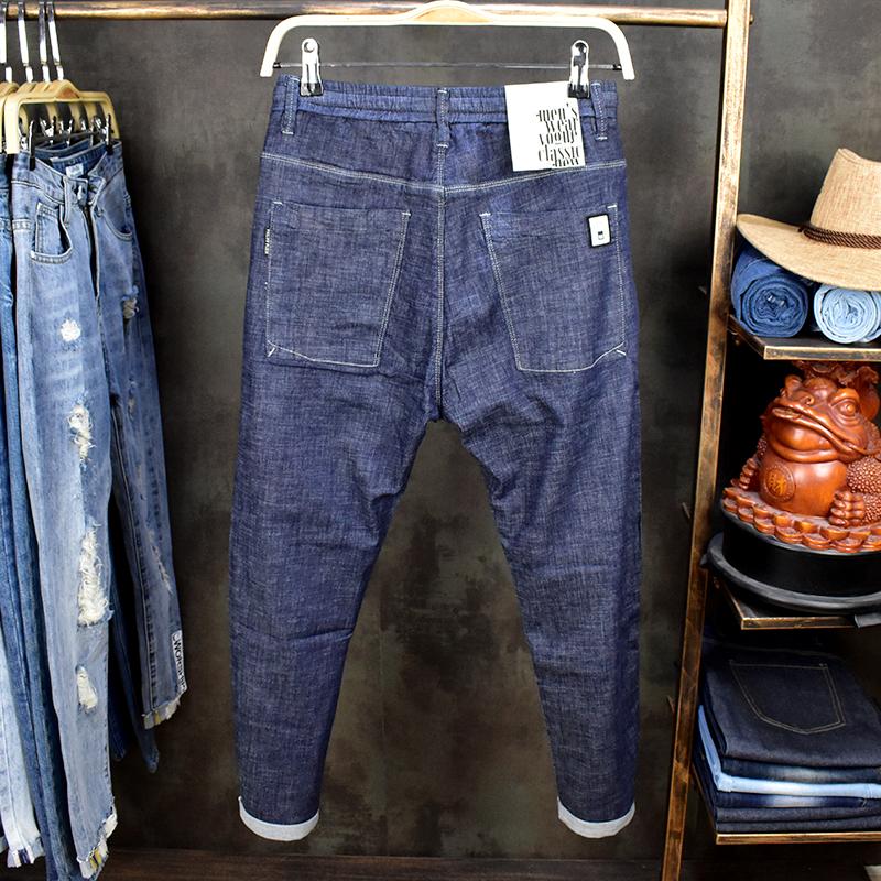 布超薄热夏季薄款冰丝冷布牛仔裤男弹力腰系带修身松紧小脚九分裤