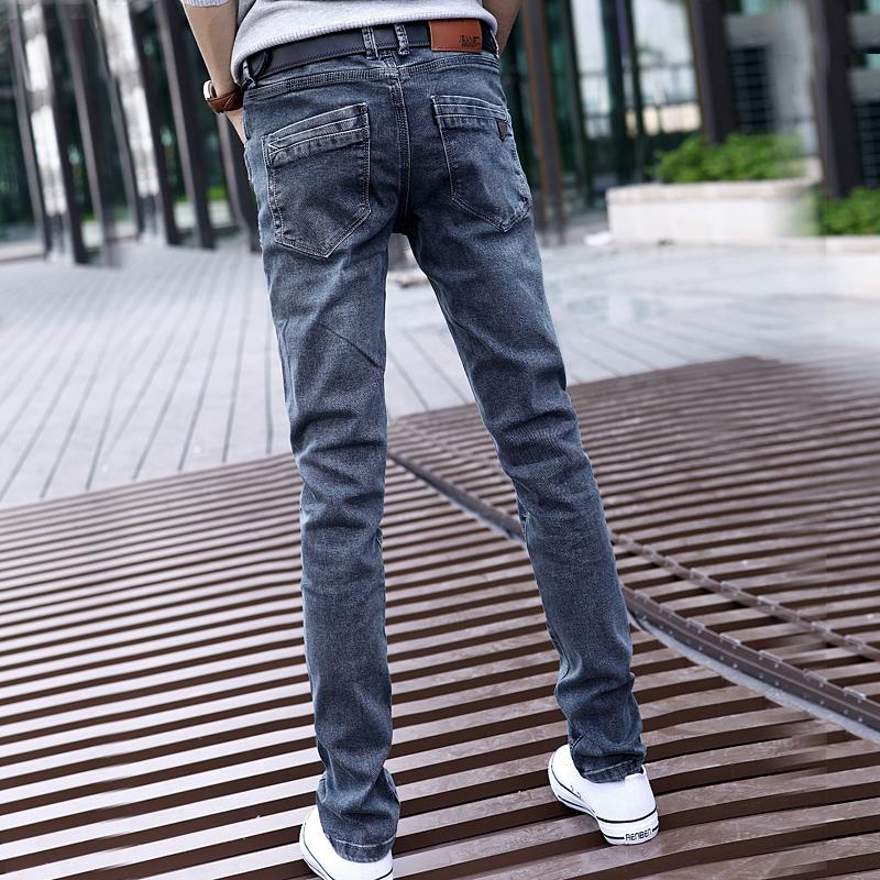 男士春夏裤子烟灰色牛仔裤男
